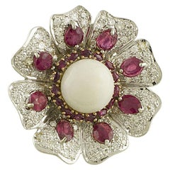 White Diamonds Rubies White Coral White and Rose Gold Flower Fashion Ring