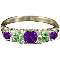 Antique Victorian Suffragette Ring Amethyst Peridot Diamond 18 Carat, circa 1900