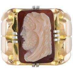 19th Century Napoleon 3 Agate Cameo 18 Karat Yellow Gold Man Signet Ring