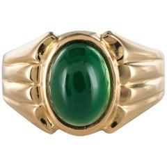 1960s Chrysoprase 18 Karat Yellow Gold Signet Ring
