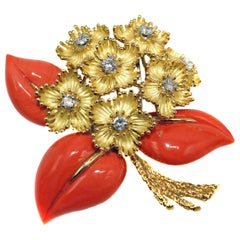 Cartier France 1960s Yellow Gold Coral and Diamond Flower Bouquet Brooch