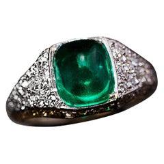 Art Deco Vintage Sugarloaf Emerald Diamond Platinum Engagement Ring
