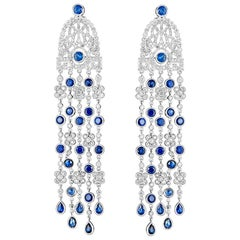 Pair of Diamond and Sapphire Cascade Chandelier Earrings in White Gold