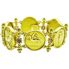 SeidenGang 18 Karat Yellow Gold and Pink Tourmaline Oval Plaque Bracelet