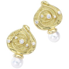 Elizabeth Gage Diamond Pearl Yellow Gold Earrings