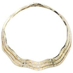 1970s Diamond Yellow Gold Necklace