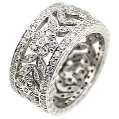 Diamond 18 Karat White Gold Floral Eternity Ring