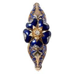 18 Karat Yellow Gold, Blue Enamel and Diamond Bangle