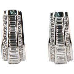 4.00 Carat Diamond 14 Karat White Gold Drop Earrings with Omega Backs