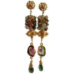 Tourmaline Slices Long Tourmaline Cluster Earrings, Tatiana III Earrings