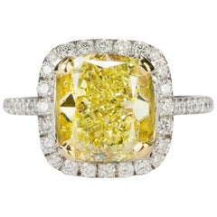 Magnificent  4.46 carat  Fancy Intense Yellow Diamond Ring