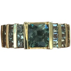 2 Carat Approximate Asscher Green Sapphire and Diamond Ring, Ben Dannie