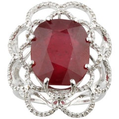 Ruby and Diamond 14.00 Carat 14 Karat White Gold Cocktail Ring