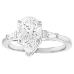 2.23 Carat D Color Platinum Engagement Ring GIA Report