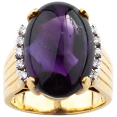 22.00 Carat Cabochon Amethyst and Diamonds 18 Karat Yellow Gold Cocktail Ring