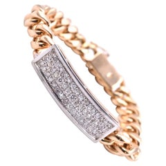 18 Karat Yellow Gold Diamond Bar Bracelet