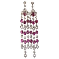 34.68ct Natural Pink Sapphire Diamonds Chandelier Earrings 18 Karat Dangle Lust