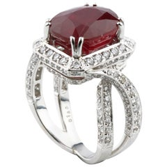 12.43 Carat Ruby and Diamond 18 Karat White Gold Cocktail Ring AIG Certified