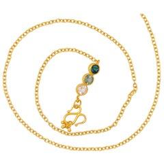 Handmade Green Tourmaline 20 Karat Gold Chain Necklace