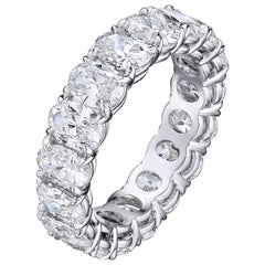 5.90 Carat Platinum Oval Diamond Eternity Band