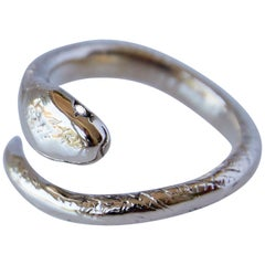 White Diamond 14 karat Gold Snake Ring Adjustable J Dauphin