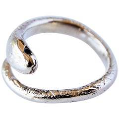 Black Diamond 14 karat Gold Snake Ring Adjustable J Dauphin