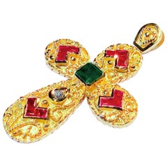 Georgios Collection 18 Karat Yellow Gold Emerald Ruby and Diamond Cross