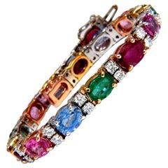 22.90 Carat Natural Sapphires Emeralds Ruby Diamond Tennis Bracelet 14 Karat