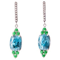 Bella Campbells Campbellian Blue Zircon and Tsavorite Diamond Dangling Earrings