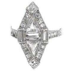 Art Deco Triangular and French Cut Platinum Diamond Ring