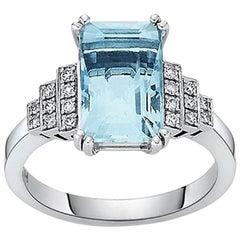 18 Carat White Gold Emerald Cut Aquamarine and Brilliant Cut Diamond Ring