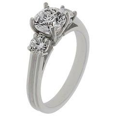 Three-Stone Diamond Platinum Engagement Ring