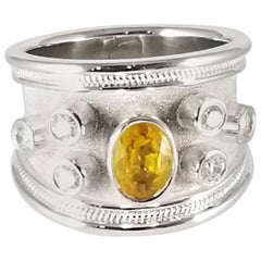 Georgios Collection 18 Karat White Gold Yellow Sapphire and Diamond Band Ring