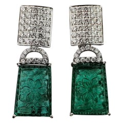 36.20 Carat Carved Emerald and Diamond Dangle Earrings