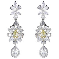 Studio Rêves 18 Karat Gold, Marquise and Pear Diamond Dangling Earrings