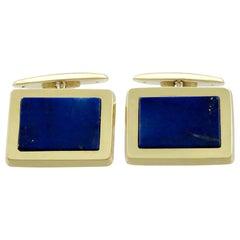 Vintage 1960s Lapis Lazuli and Yellow Gold Cufflinks