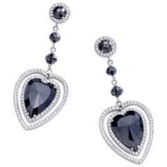 Adler Black Diamond Heat Shape White Gold Earrings