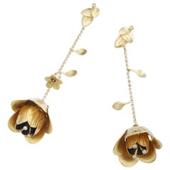 Mid-20th Century Yellow Gold Rose Flower Ear Pendants