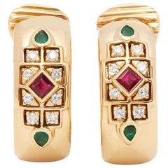 Cartier 18 Karat Yellow Gold Diamond, Ruby & Emerald Byzanite Earrings