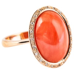 Ring Diamond and Coral in Pink Gold