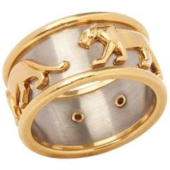 Cartier 18 Karat Yellow & 18 Karat White Gold Men's Panthère Ring