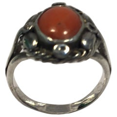 Georg Jensen Sterling Silver Ring with Coral