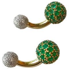 18 Karat White and Yellow Gold  Emeralds Spherical Cufflinks