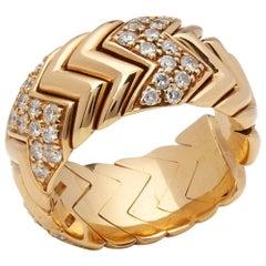 Bulgari 18 Karat Yellow Gold Diamond Spiga Band Ring