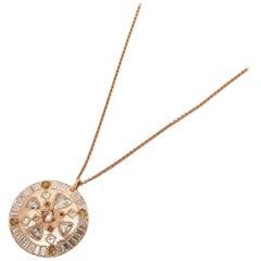 De Beers 18 Karat Rose Gold Diamond Hope Talisman Large Pendant Necklace