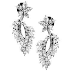 4.75 Carat VVS Diamond Leaf Inspired 18 Karat Gold Earring