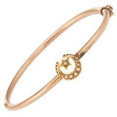 Antique Victorian Bangle Bracelet Crescent Moon Star 10 Karat Gold Fine Vintage
