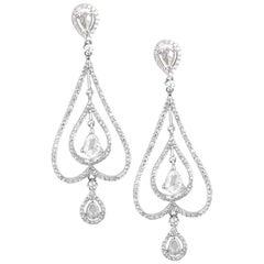 2.69 Carat Rose Cut and Round Diamonds 18 Karat Gold Earring