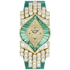 Audemars Piguet Rare Unworn Diamond & Emerald Set Dress Watch NOS Ladies 18k Yel