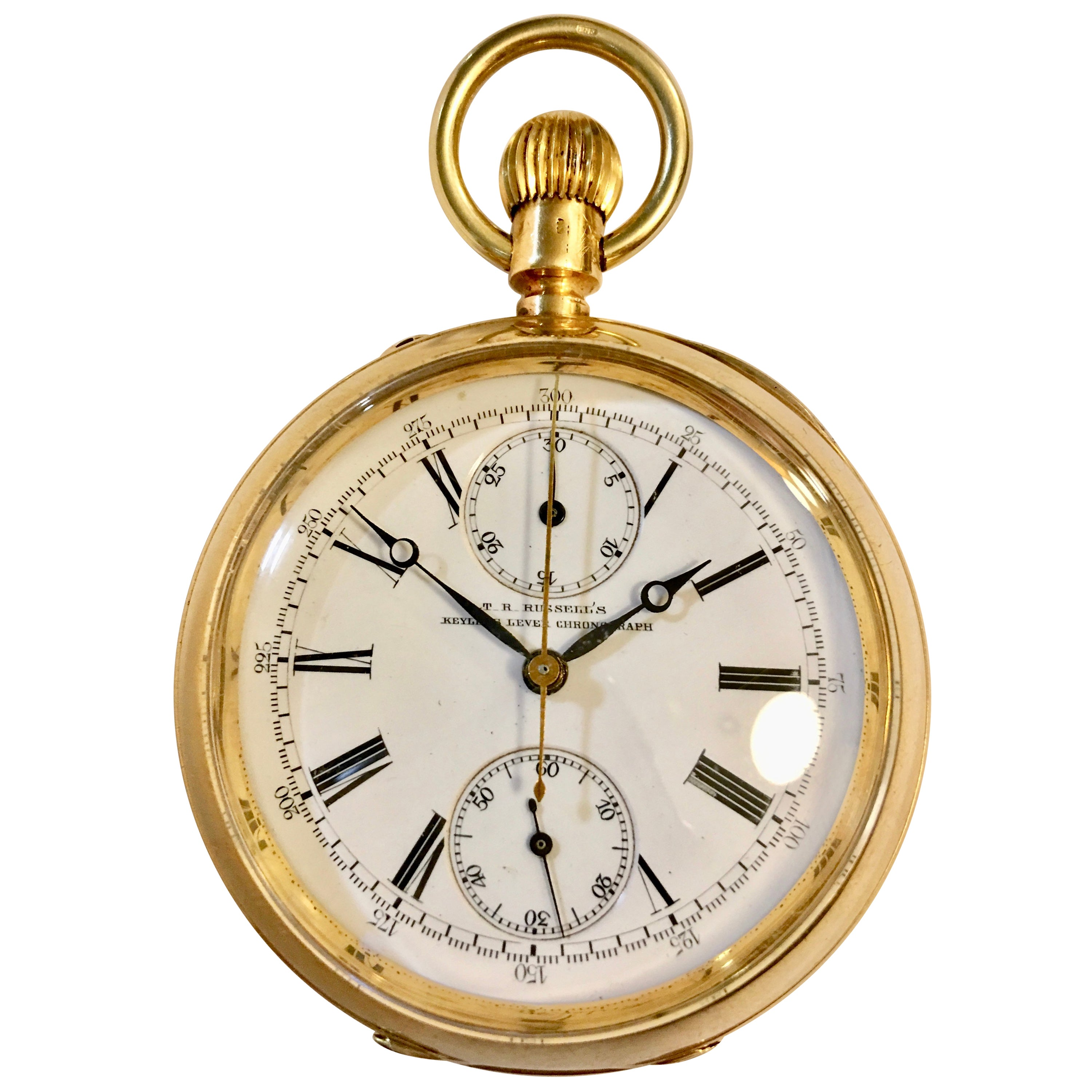 ec74b3061 T.R Russel's Swiss Split Second 18 Karat Gold Chronograph Pocket Watch For  Sale at 1stdibs